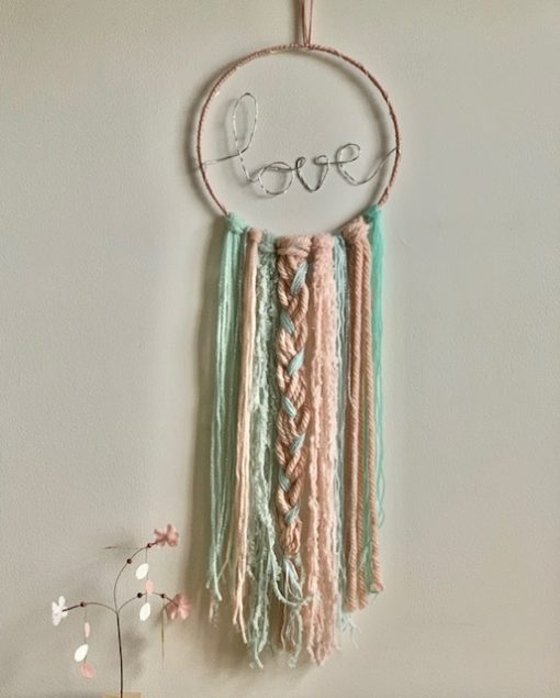 LED Love Dreamcatcher Mint Pink Silver Medium