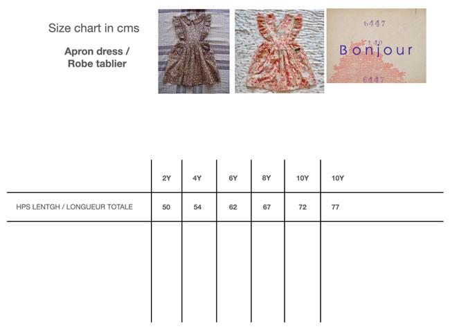 Bonjour Diary Apron Dress Size Chart