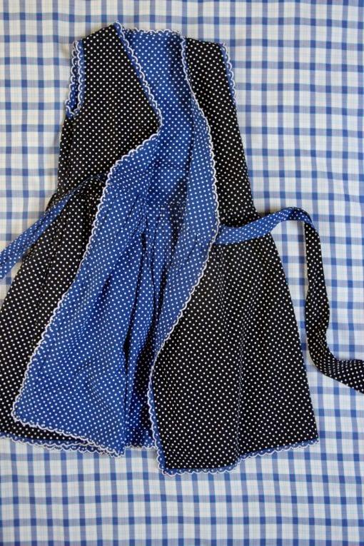 Bonjour Diary Reverisible Wrap Dress Blue Dot Black Dot