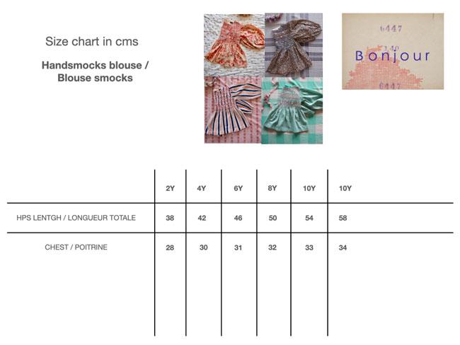 Bonjour Diary Handsmock Blouse Size Chart