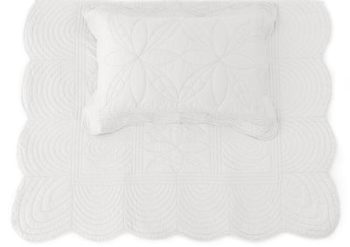 Bonne Mere Single Bedspread Quilt and Pillow Set - Mist