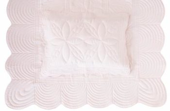 Bonne Mere Single Bedspread Quilt and Pillow Set - Powder