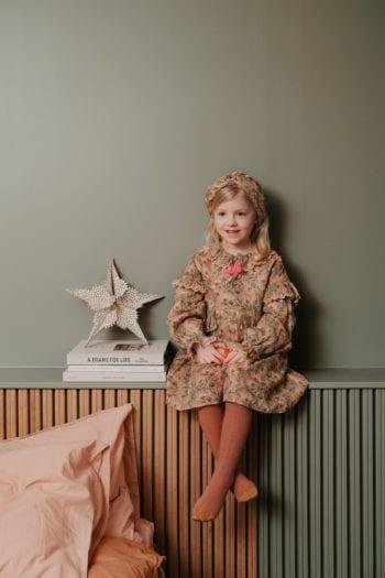 Girls-Dress-Eforie-Khaki Folk Flowers-Little French Heart