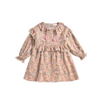 Girls-Dress-Eforie-KhakiFolkFlowers-Little French Heart