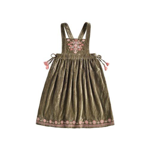 Louise Misha Girls-Dress-Nouchka-OliveVelvet-2