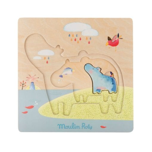 Moulin Roty Les Papoum Wooden Hippo Toy Puzzle