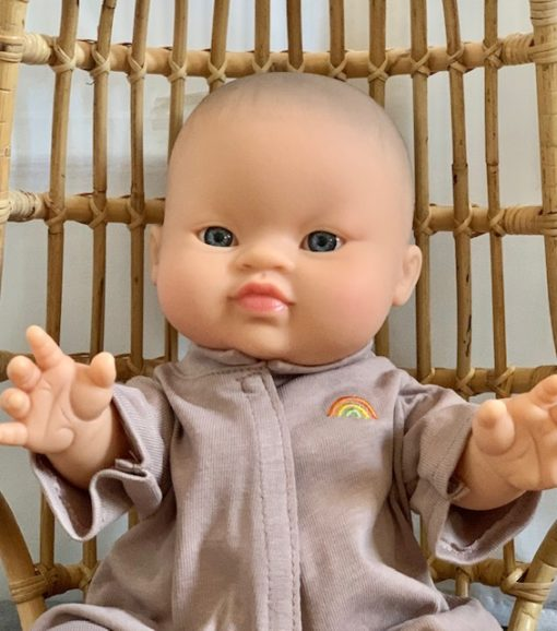 Paola Reina Gordis Eva Asian Baby Doll with Lilac Pajamas Little French Heart