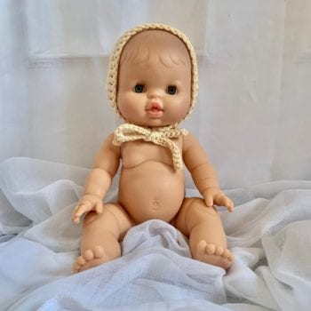 Dolls Baby Bonnet Flax Little French Heart