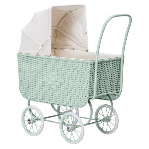 Dolls Pram Retro Rattan Mint Little French Heart