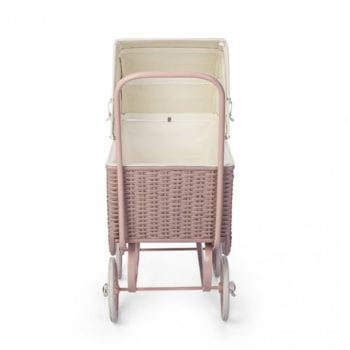 Dolls Pram Retro Rattan Rose