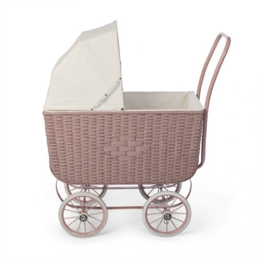 Dolls Pram Retro Rattan Rose Little French Heart