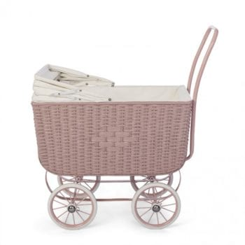 Dolls Pram Retro Rattan Rose Little French Heart Lid down