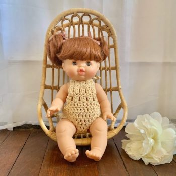 Dolls Romper Crocheted Natural French Heart
