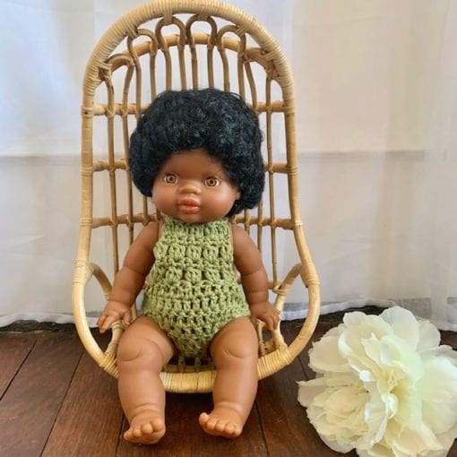 Dolls Romper Crocheted Olive Little French Heart 2