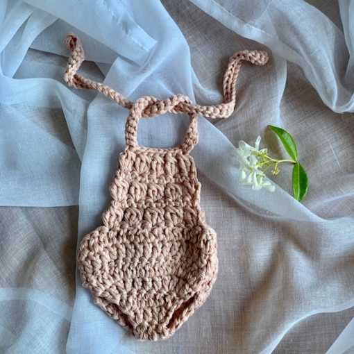 Dolls Romper Crocheted Pale Pink Little French Heart