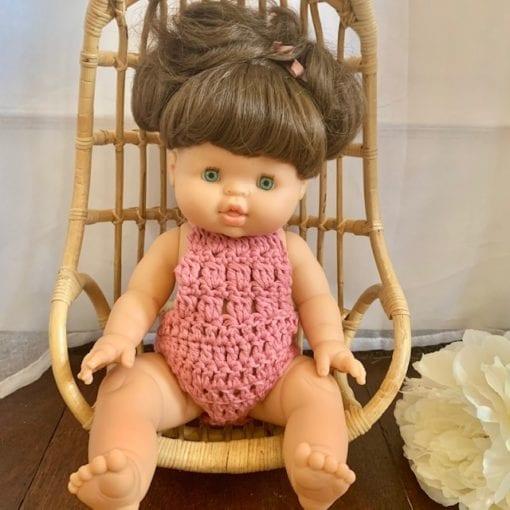 Dolls Romper Crocheted Rose Little French Heart