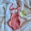 Dolls Romper Crocheted Rose Little French Heart