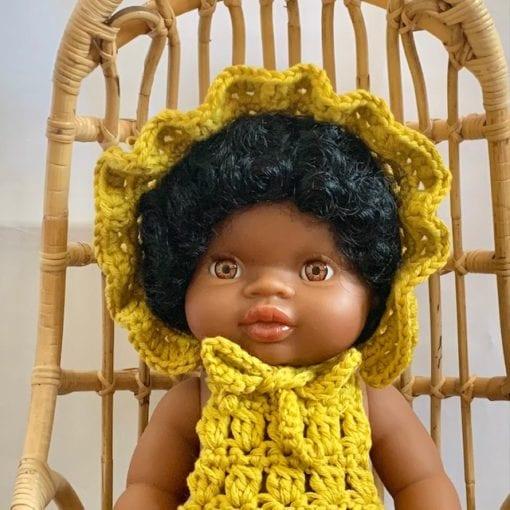 Dolls Ruffle Bonnet Crochet Marigold