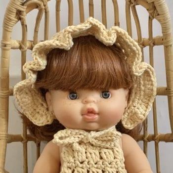 Dolls Ruffle Bonnet Crochet Natural Little French Heart