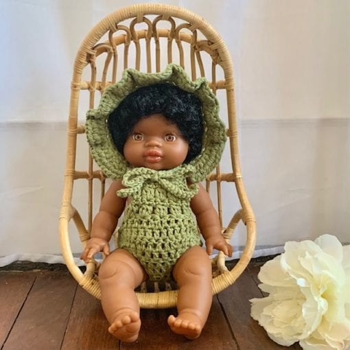 Dolls Ruffle Bonnet Crochet Olive