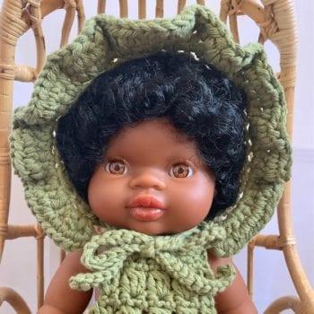 Dolls Ruffle Bonnet Crochet Olive 3
