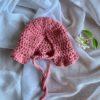 Dolls Ruffle Bonnet Crochet Rose