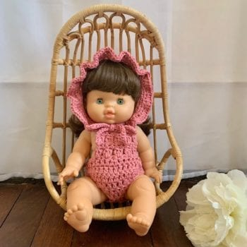 Dolls Ruffle Bonnet Crochet Rose Little French Heart