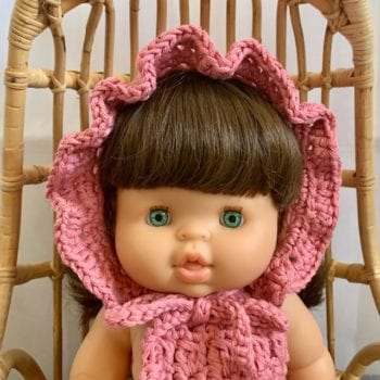 Dolls Ruffle Bonnet Crochet Rose Little French Heart close