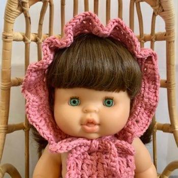 Dolls Ruffle Bonnet Crochet Rose Little French Heart close