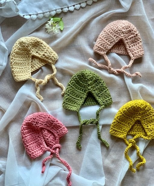 Crocheted Baby Doll Bonnets