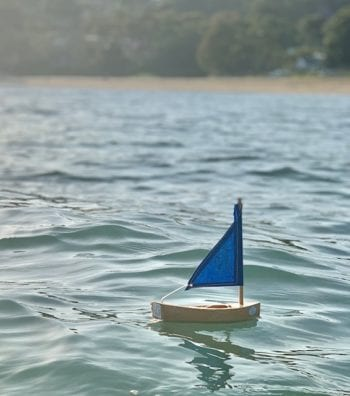 Toy Wooden Sailing Boat Little Blue Natural
