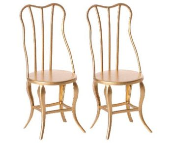 Maileg Vintage Chairs Micro Gold 2pc