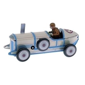 Blue Race Car Mechanical Tin Toy Replica