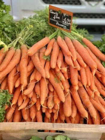 Carrots in markets of Provence
