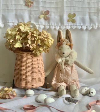 French Bunnette & Basket Blush Set Mini