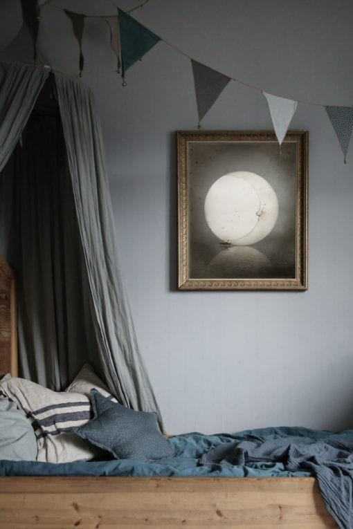 Mrs Mighetto Dear Moon Poster Little French Heart