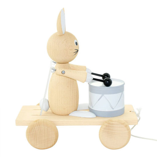 Wooden-Pull-Along-Rabbit-With-Drum Little French Heart