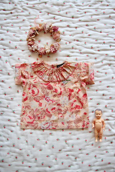 Bonjour Diary Baby Blouse with Faded Roses