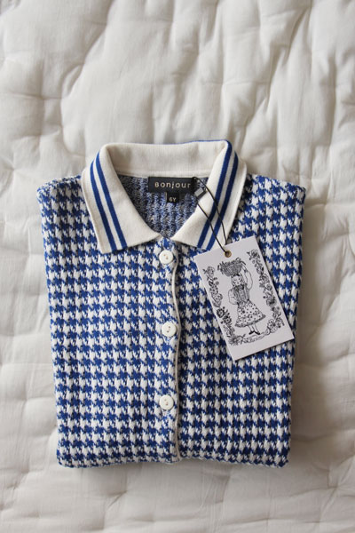 Bonjour Diary Knitted Houndstooth Cardigan