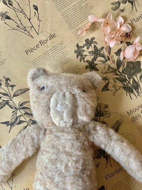 Sophie Digard Fuzzy Teddy Bear in Natural