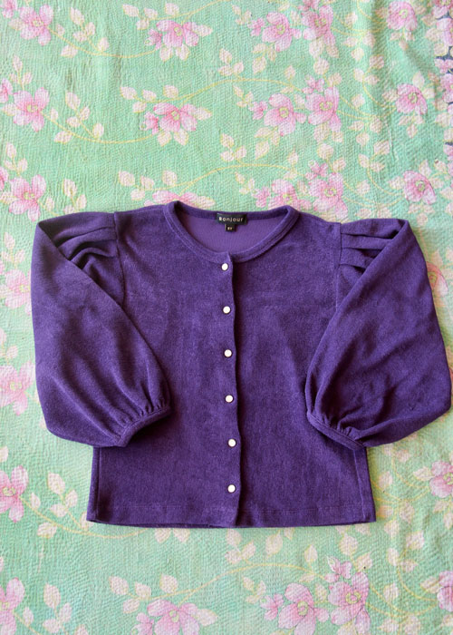 Bonjour Diary Cardigan Purple Terry