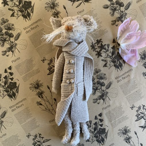 Sophie Digard Mouse in Natural Coat with Scarf