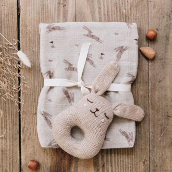 Main Sauvage Baby Rattle Bunny Sand