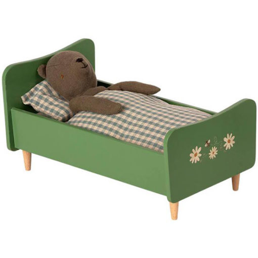 Wooden-Bed-Dusty-Green-for-Teddy-Dad-Little-French-Heart
