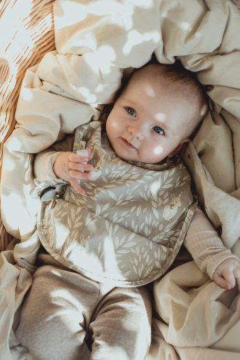 Mrs Mighetto Baby Bib Misty Leaf Grey #Littlefrenchheart 1