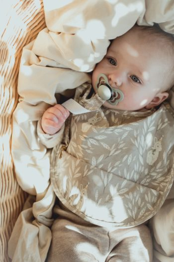 Mrs Mighetto Baby Bib Misty Leaf Grey #Littlefrenchheart 6