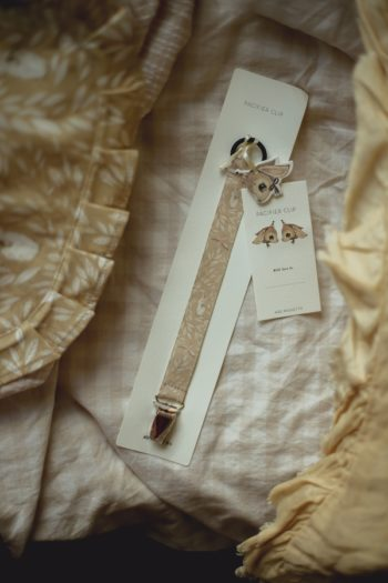 Mrs Mighetto pacifier-misty yellow leaf #Littlefrenchheart
