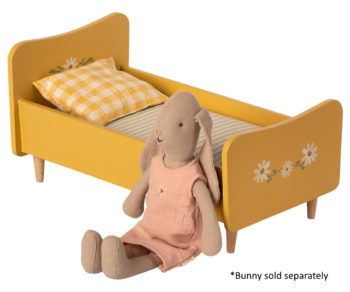 Maileg Wooden Bed Mini Yellow #Littlefrenchheart with bunny