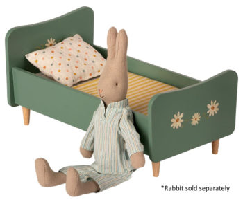 Maileg Wooden Bed Mini blue with rabbit #Littlefrenchheart
