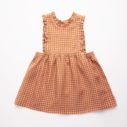 Nellie Quats Marlow Pinafore Rose and Caramel Check #littlefrenchheart
